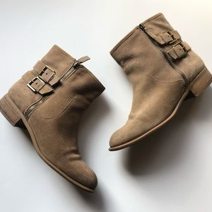 NineWest Tan Suede Leather Moto Harness Ankle Boot
